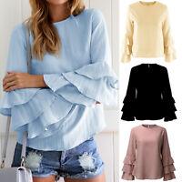 Women Summer Long Sleeve Casual Blue Cotton Loose Blouse Tops T-Shirt