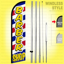 Barber Shop - Windless Swooper Flag Kit 15' Tall Feather Banner Sign wf338-h