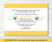 Sweet Little Bumble Bee Printable Baby Shower Invitation Editable PDF