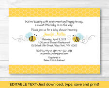 Sweet Little Bumble Bee Printable Baby Shower Invitation Editable PDF