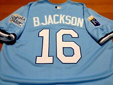 Royal P.Blue Kasas City Roylas #16 Bo Jackson Throwback Dual Patches sewn Jersey
