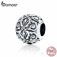 BAMOER Solid s925 Sterling silver Charm Bead European Love Fit Bracelet Jewelry