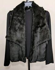 6Th & LANE Bryant Faux Rabbit Fur Knit Jacket 14/16 Women's Black Open Front
