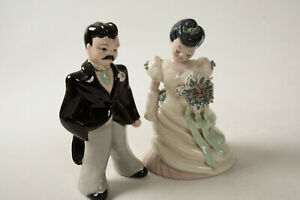 Bride & Groom Figurines (C3R) Vintage Porcelain Large Cake Topper Repaired