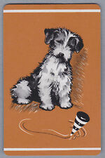 1 Single VINTAGE Swap/Playing Cards DOGS TERRIER & SPINNING TOP Brown