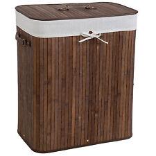 Cesta de bambú para la ropa 100L colada baño cesto madera pongotodo marrón