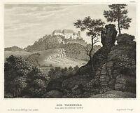 Wartburg - aspecto de la nordseite - meyer's Universum - Grabado de acero 1836