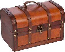 Vintage Suitcase Trunk Retro Antique Storage Chest Box Train Wooden Luggage