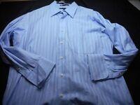 Tommy Hilfiger Blue Stripe Long Sleeve 16 32/33 large long Sleeve Men's Shirt