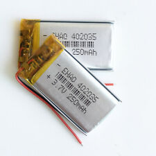 2 x 3.7V 250mAh 402035 Lipo Polymer Power Rechargeable Battery For Mp3 Watch