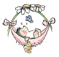 BABY Hammock Hedgehog Butterfly Wood Mounted Rubber Stamp PENNY BLACK 2073J New