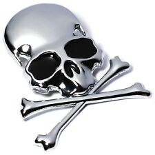 7.2x6CM 3D Metal Skull Skeleton Crossbones Car Motorcycle Stickerm Label Emblem