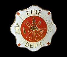 Maltese Cross Fire Fighter Firemen Dept Lapel Cap Insignia Gold Plate Pin Tac