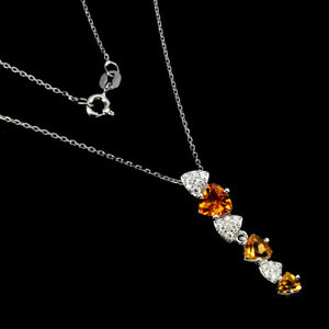 Unheated Trilliant Citrine Cz White Gold Plate 925 Sterling Silver Necklace 18in