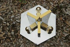 Mid century SCIOLARI marked flush mount lamp chandelier mirrored metal 1960 n1