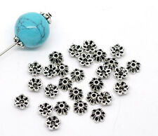 300 Newest Silver Tone Flower Findings Bead Caps 6x2.8mm
