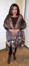 VINTAGE GENUINE SILVER FOX FUR STOLE CAPE WRAP THROW COAT WITH 3 TAILS PER SIDE