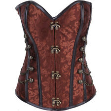 New Ladies Brocade Steel Boned Steampunk Punk Gothic Corset Lace Up Bustiers Top
