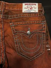 TRUE RELIGION BRAND JEANS MENS ORANGE STRAIGHT BIG T JEANS SZ 34