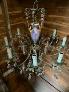 Antique French Brass Crystal Chandelier-8 Arm