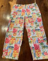 EP Golf Women's Golf Pants Capris Fun Tropical Golf Print Size 8
