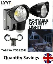 LYYT Battery Powered 3w Twin LED Floodlight With 10m PIR Motion Sensor Ip44