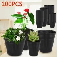 100Stück Sämling töpfe Pflanzer Schwarz Blumentöpfe Anzuchttopf Pflanzenbehälter