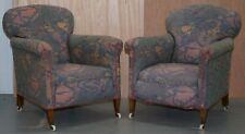 PAIR OF VICTORIAN MAHOGANY CLUB ARMCHAIRS INC FLORAL LIBERTYS LONDON UPHOLSTERY