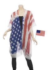 American Flag Patriotic Ruana Style Coverup Shawl Wrap
