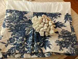 Pottery Barn Matine Toile Pleated Button Bedskirt Juponnage King  Linen Blend