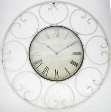 62cm Vintage Rustic LOOK Metal Shabby Chic WHITE Quartz Battery Wall Clock -1137