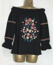 D*rothy P*rkins Sample Black Embroidered Cotton Jersey Bardot Top Size 12