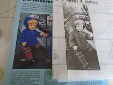 """T 1 PATRON POUPEE """"BAIGNEUR MICHEL  """" M ET TRAVAUX""""  VESTE A CAPUCHE   1980"""