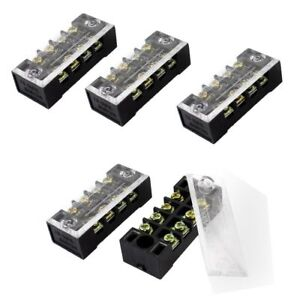 Dual Row 4 Position Covered Screw Terminal Block Strip 600V 15A SS