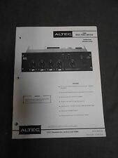 Original Vintage Altec 1606A Mixer Power Amp Amplifier Operating Instructions