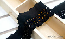 3yd Cotton Simple flower Embroidery eyelet lace Trim Black lace
