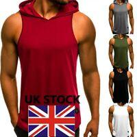 UK Men Vest Bodybuilding Hooded Tank Top Muscle Clothing Stringer Hat T-Shirt LC