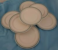 Lot of 7 Bread Dessert Plates Syracuse China Dinnerware Green Ring