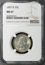 1957-D 25C MS67 NGC Washington Quarter PQ++ Rare Gem **Only 2 Finer!!**