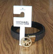 Michael Kors Women's MK Logo Reversible Belt Size M - Brown Signature/Black NWT