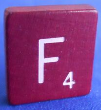 Single Maroon Scrabble Wood Letter F Tile One Only Replacement Game Parts Pieces