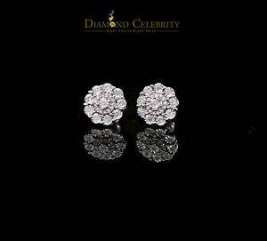 10K White Gold Finish with 0.25 CT Real Diamond Silver Stud Micro Earrings