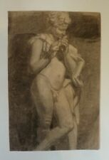 19th C. Charcoal Drawing - Nude Flute Player