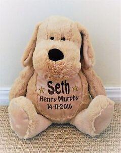 Personalised teddy puppy dog.embroidered baby gift/christening birthday keepsake