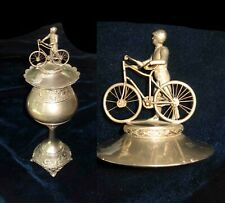 "RARE 1895 American BICYCLE TROPHY w/ Suited Cyclist & Bike Atop Lid - 14"" TALL"