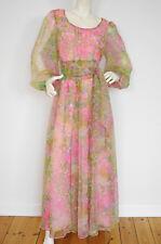 ULI RICHTER Vintage Abendkleid m. Gürtel Chiffon 1970s Evening Dress Gown 40/L