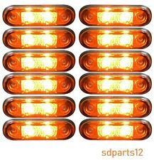 12 x 24v Flush Fit Orange LED Lights of Position Side Truck Trailer Caravan