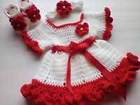 Crocheted baby girl outfit- dress, headband and booties  fits 3 to 6 months
