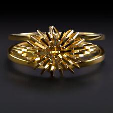 18k YELLOW GOLD COCKTAIL RING SPLIT SHANK STARBURST UNIQUE ESTATE VINTAGE RETRO