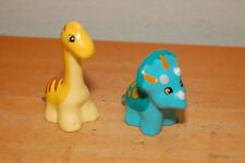 Lego Duplo Triceratops Blue/ Brown & Brontosaurus Yellow/ Brown Lot Of 2